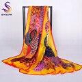 Novo amarelo brilhante lenço de seda senhoras summer beach xale 180*110 centímetros azul amarelo orange mulheres longo inverno cachecol xale lenços cape