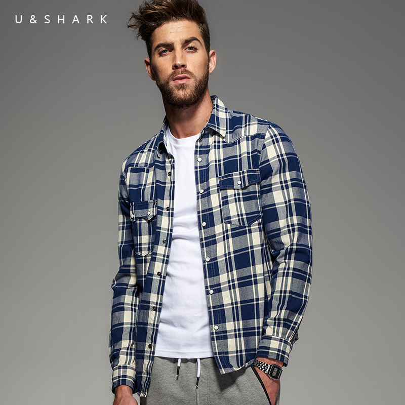 2016 Autumn Italian Style Long Sleeve Blue Plaid Flannel Shirt Men Blouse U&Shark Casual Cotton Check Shirt Male Chemise Homme
