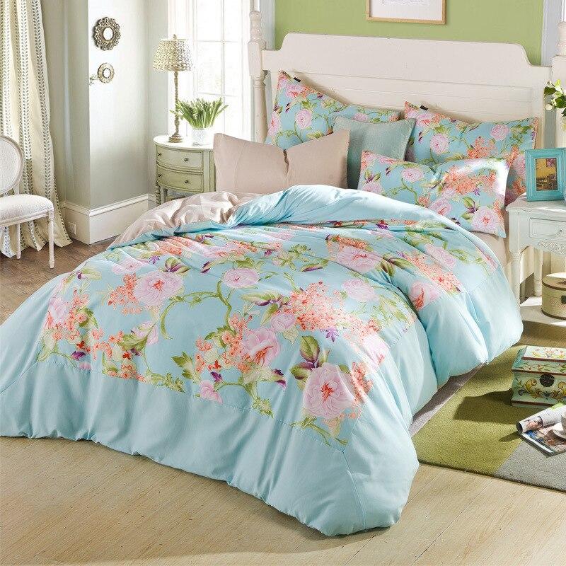 Coton 4 pièces rose fille style ensemble de literie fleur amant oiseau linge de lit housse de couette drap de lit taies d'oreiller roi/reine taille