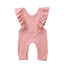Summer Kids Baby Girl Cotton Knitted Pleated Ruffles Sleeveless Romper Princess Sunsuit Overalls Jumpsuit Long Trousers Clothes