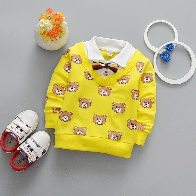 Newest 2017 Spring Baby Boys T Shirt Cartoon Bear Kids T Shirt Infant Cotton T Shirt Fashion Casual Lapel Children Tops Tees