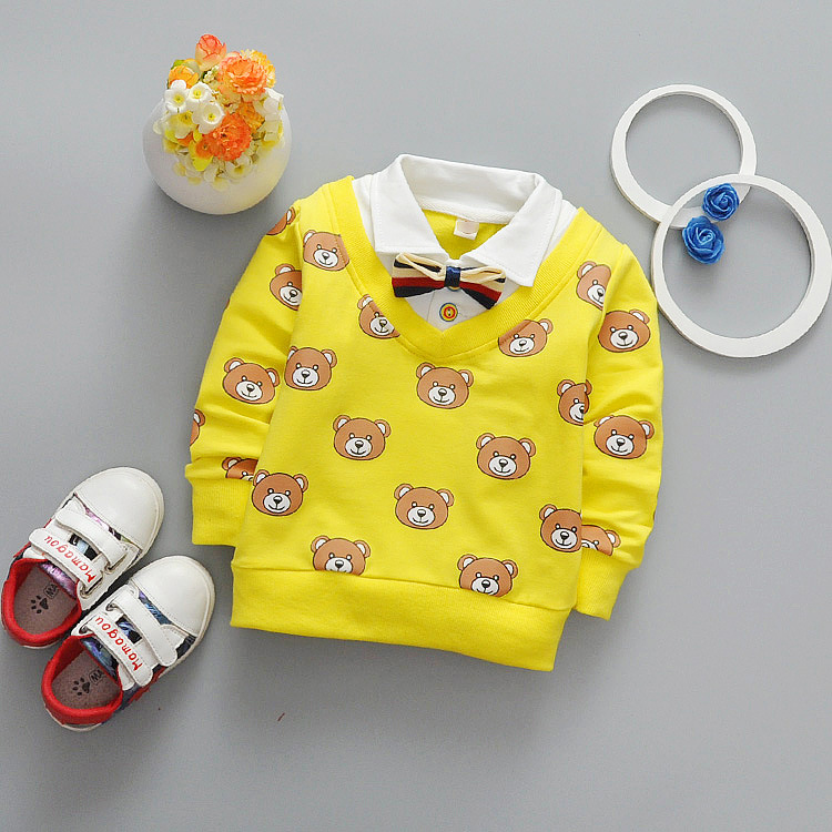 Newest 2017 Spring Baby Boys T Shirt Cartoon Bear Kids T Shirt Infant Cotton T Shirt Fashion Casual Lapel Children Tops Tees fashion baby girl t shirt set cotton heart print shirt hole denim cropped trousers casual polka dot children clothing set