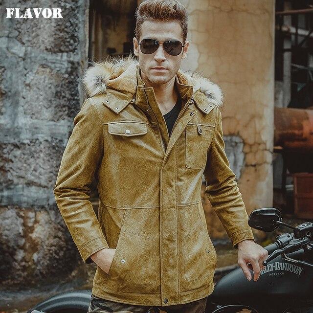f87b5dfe9c7 Hombres chaqueta de cuero real piel de cerdo amarillo chaquetas con capucha  sombrero de piel de