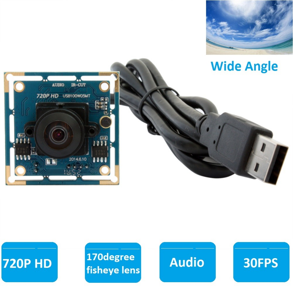 ELP1.0 megapixel CMOS OV9712 170degree Wide Angle CCTV Micro Usb Fisheye Camera with Audio Microphone for Android Linux Windows elp 1mp hd ov9712 cmos h 264 mjpeg infrered usb webcam cam module cctv board ir usb camera wide angle for industrial machines