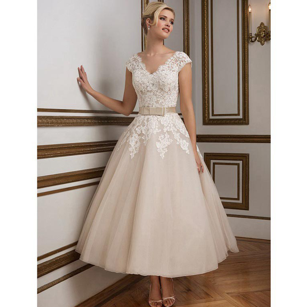 Cap Sleeve Bridal Gowns: Glamorous V Neck Appliqued Lace Cap Sleeve Beach Wedding