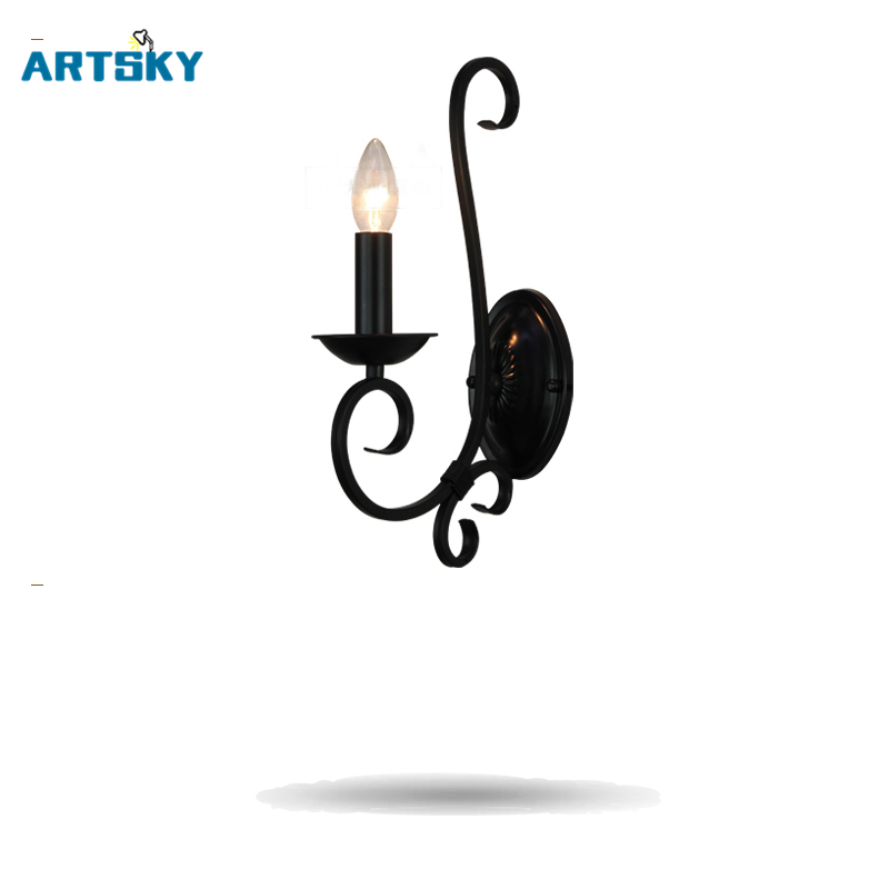 European - Style Candle  Wall Lamp Iron Retro Aisle Wall Lamp Simple Pastoral Bedside Lamp retro european style decorative iron wall clock 1 x aa