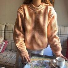 Женский джемпер, милый, кавайный, шикарный, сплошной цвет, свободный, толстый свитер, для девушек, Harajuku, шикарный Ins, свитера для женщин, Ретро стиль, вязаная одежда