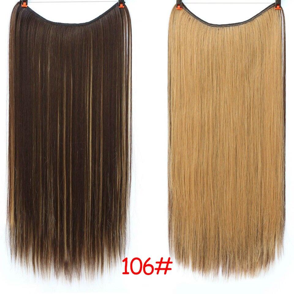 """SHANGKE 2"""" флип-на проволоке в синтетическом скрытом невидимом не клип в головном повязке прямые высокотемпературные волокна для наращивания волос - Цвет: #12"""