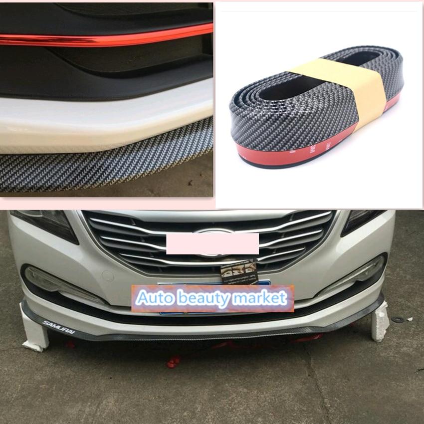 2.5 M/lèvre avant de la voiture pare-chocs Autocollant accessoires pour Citroen C4 C5 C3 Ford Focus 2 3 Fiesta Mondeo Kuga Skoda Octavia 2 A7 A5