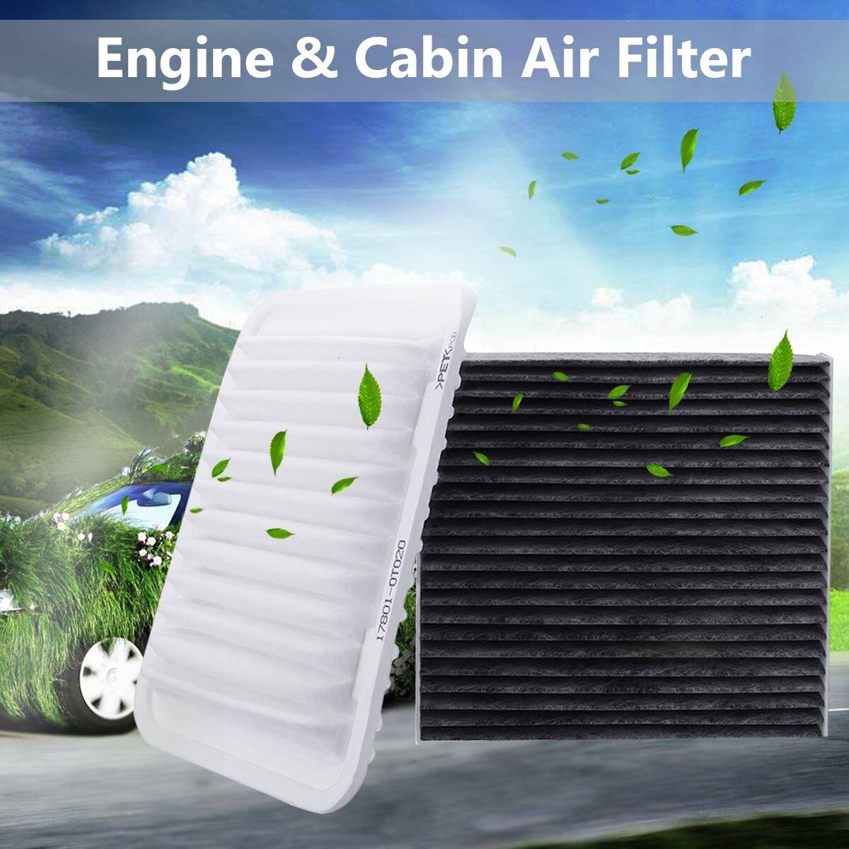 2 ชิ้นเครื่องยนต์กรองอากาศ Cabin Cabin Air Filter สำหรับ Toyota Corolla Yaris Matrix 2008-2018 17801-21050 87139-YZZ0 87139-50100