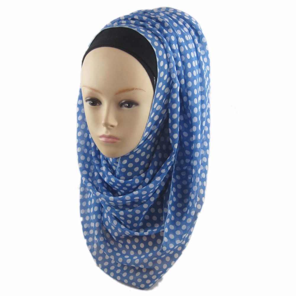 Wanita Musim Gugur Musim Semi Sifon Panjang Echarpe Daun Dicetak Syal Wanita Stola Hangat Selendang Abaya Niqab Hijab Topi