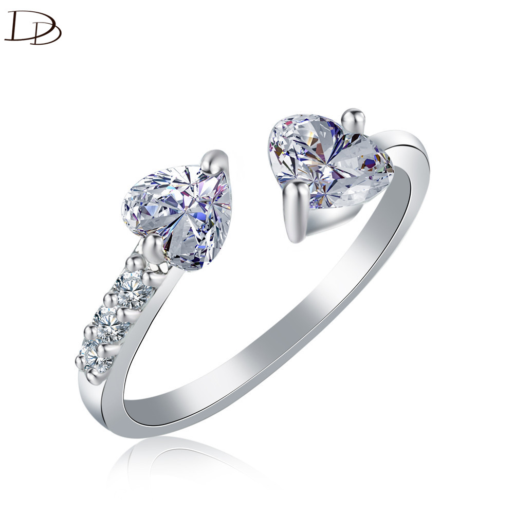DODO Double Heart AAA Zircon Open End Rings For Women Silver/Gold Color Fashion Kpop Jewelry Chic Cocktail Anel Best Gifts R78