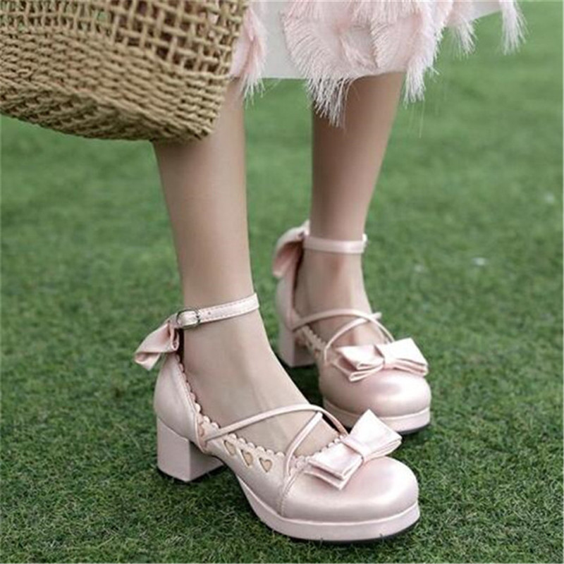 Big Size 30-48 Women Pumps Japanese Princess Lolita Shoes Sweet Bow Cross Straps High Heels Mary Janes COSPLAY Female Shoes Gold (31)