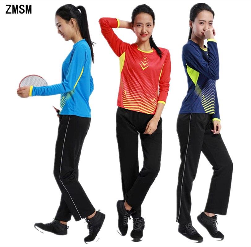 ZMSM manches longues femmes chemises de Tennis pantalons d'entraînement Badminton Tennis de Table maillots séchage rapide Gym T-Shirt sport costumes AF109