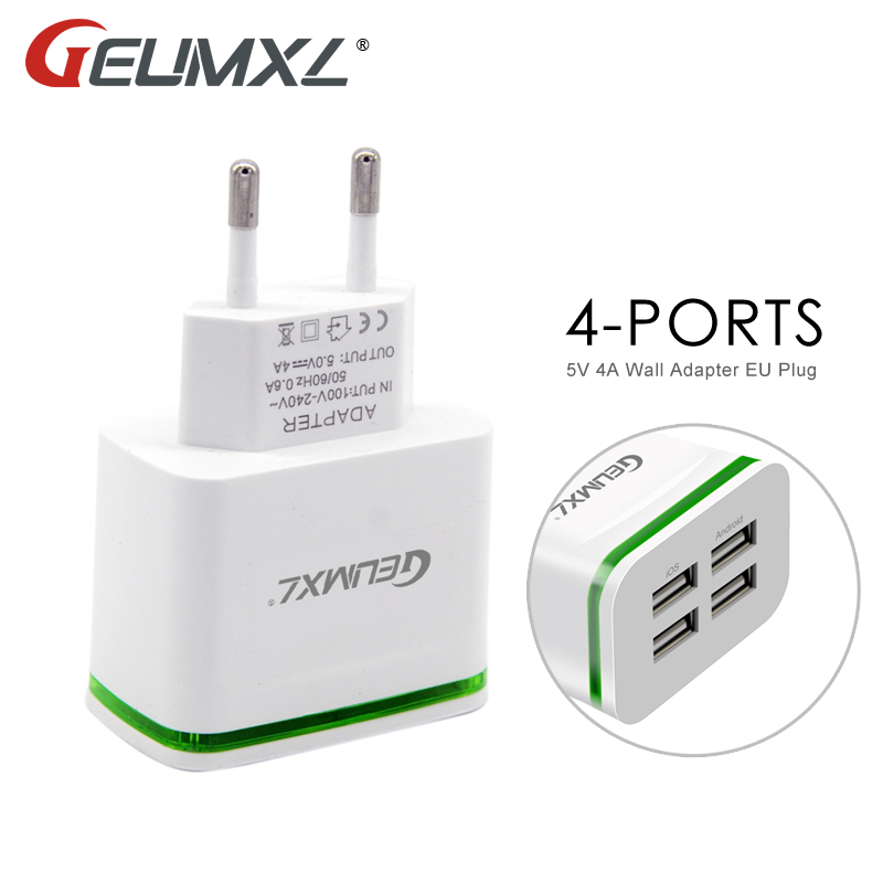 GEUMXL USB Fast Charger For iPhone 5 6 7 iPad Samsung 4-Ports 5V 4A Wall Adapter EU Plug Mobile Phone Charging Device