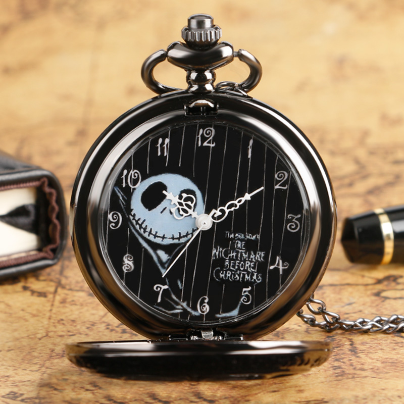 New Arrival Antique Design Nightmare Before Christmas Skull Black Dial Quartz Pocket Watch Fob Clock Unisex Gift Free Shipping