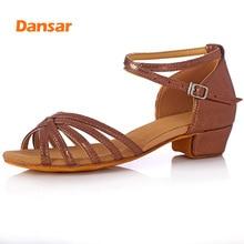 лучшая цена Children Tango Latin Dance Shoes High Quality Latin Woman Dancing Shoe Wholesale Dance Shoes for Girls Low Heel Salsa Sandals