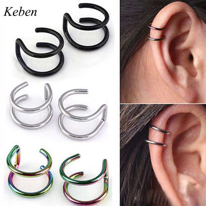 Nose-Ring Clip-On Ear-Cuff Body-Jewelry Fake Piercing Stainless-Steel Falsas Wrap 1PCS