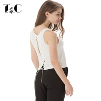 TC 2017 New Arrival Women Back Open Sleeveless Shirts Fashion Hollow Out Bandage O-Neck Summer Fashion Slim Top Tees