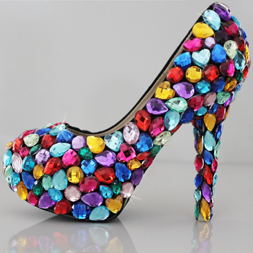 db91bb8302b2 2015 Colorful Crystal Jeweled Party Prom Shoes High Heels Women Pumps