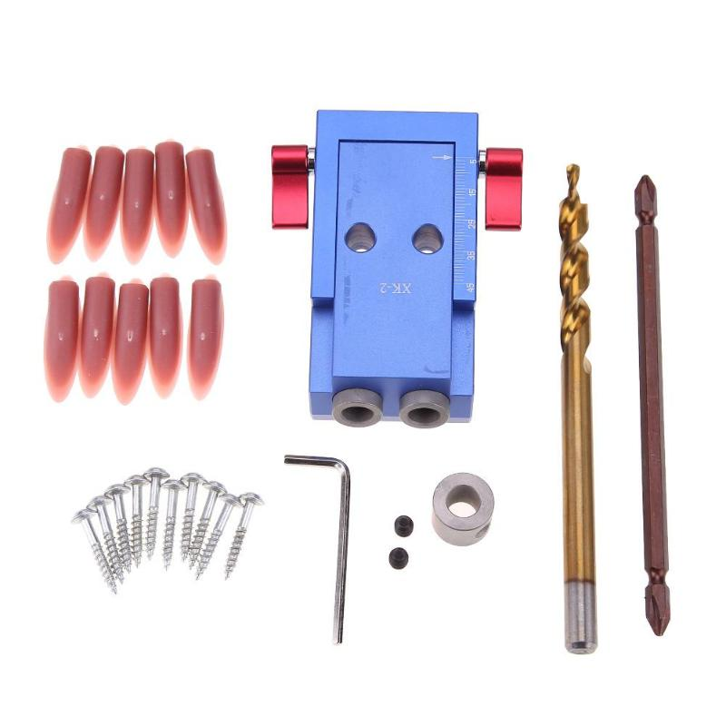 Mini Kreg Style Pocket Hole Jig Kit System For Wood Working & Joinery + Step Drill Bit & Accessories Wood Work Tool Set With Box woodworking tool pocket hole jig woodwork guide repair carpenter kit system with toggle clamp and step drilling bit cp527