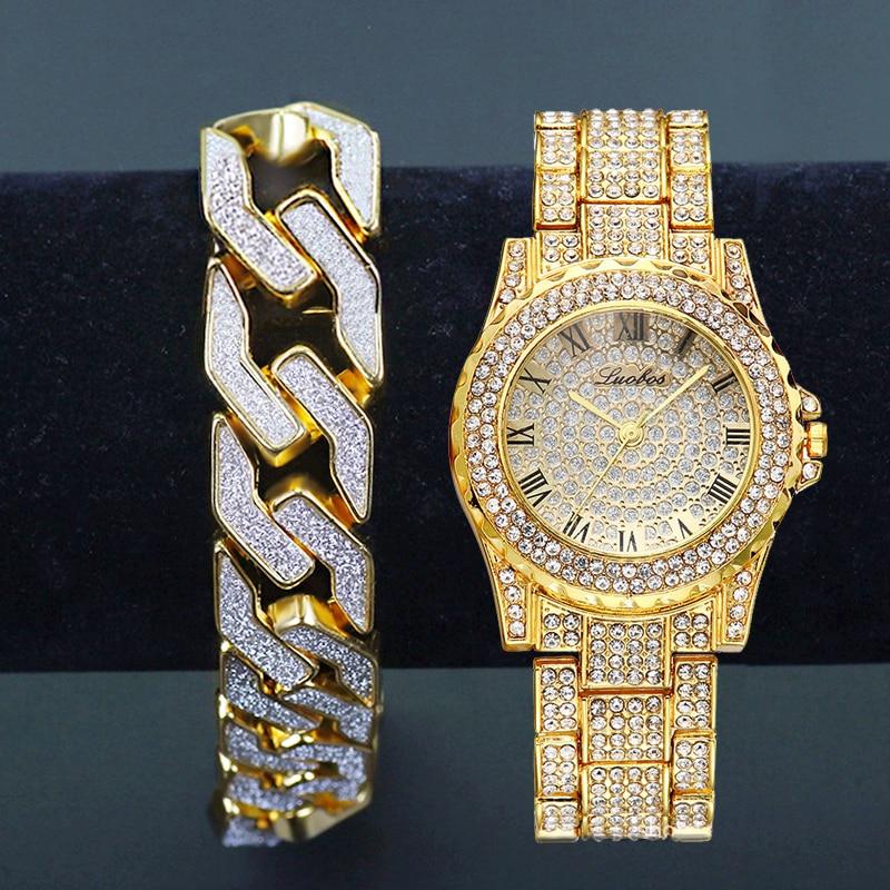 Lureen 2Set Men Hip Hop Iced Out Gold Watch Glitter Geometric Bling Zirconia Bracelet Male Watchband Jewelry Set GiftLureen 2Set Men Hip Hop Iced Out Gold Watch Glitter Geometric Bling Zirconia Bracelet Male Watchband Jewelry Set Gift