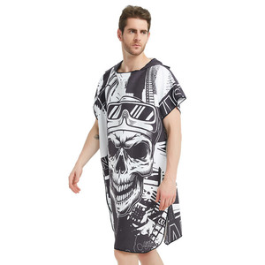 Image 4 - Black Graffiti Towel Women Man Bathrobe /Changing Robe Bath Towel Outdoor Hooded Beach Towel Poncho Bathrobe Swimsuit