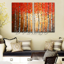 2 Piece Hand Painted Palette Knife White Tree Oil Painting Wall Art Canvas Picture Modern Abstract Home Decor Living Room Set 2