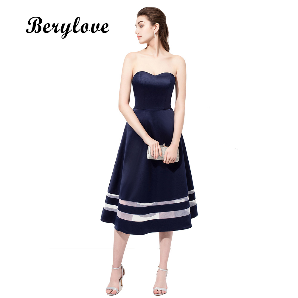 BeryLove Short Navy Tea Length Prom Dresses 2018 Simple Sweetheart ...