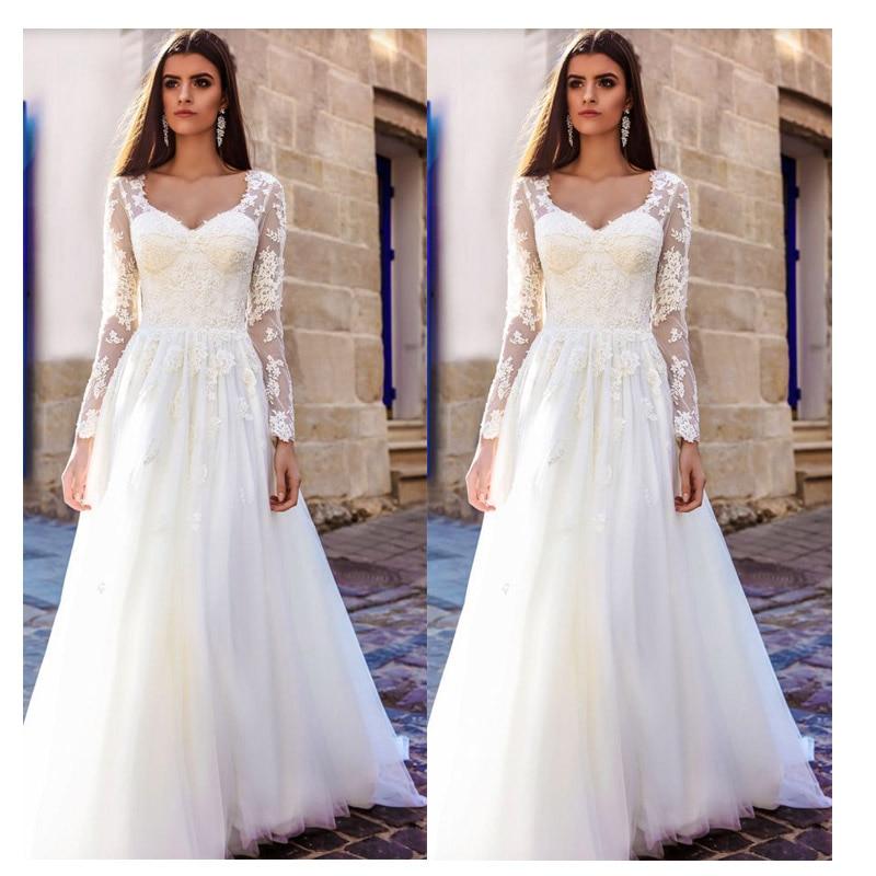 LORIE Boho Long Sleeve Wedding Dress Elegant 2019 Robe De Mariee Vintage Lace Top New Bridal Dress Puffy Tulle Wedding Dresses