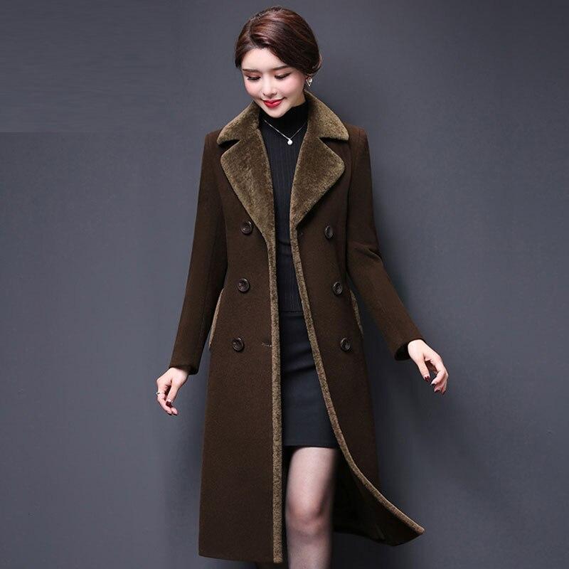 Plus size Autumn Women Wool Blends Coat Winter Woolen Coats Women Long Paragraph Solid Color Cashmere