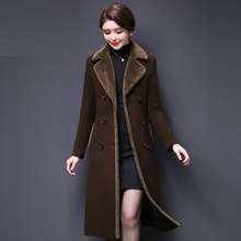 Plus size Autumn Women Wool Blends Coat Winter Woolen Coats