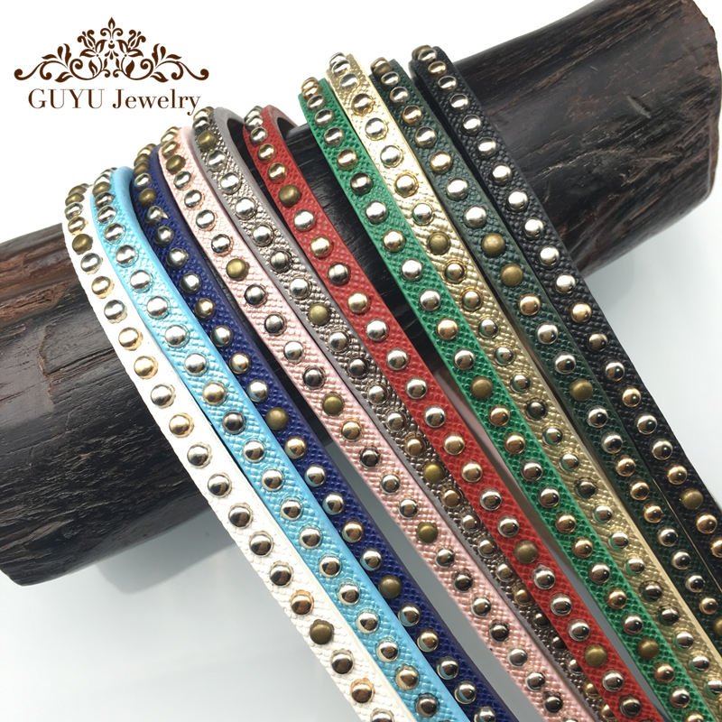 GUFEATHER 5MM Rivet leather cord/jewelry accessories/bracelet findings/diy jewelry/bracelet accessories