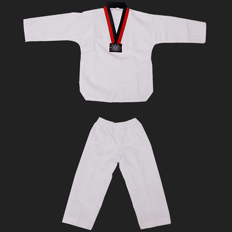 Taekwondo Dobok Cotton White Karate Uniform WTF Belt Red Black V-Neck  Wesing Protector Judo Equipment For Kids Adult sauna suit