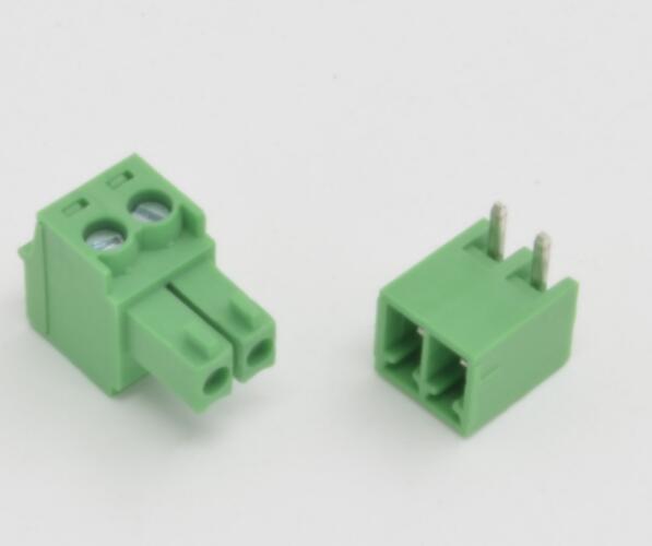 Free Shiping 50Pcs 3.5mm Pitch 2 Pin Angle Screw Pluggable Terminal Block Plug Connector