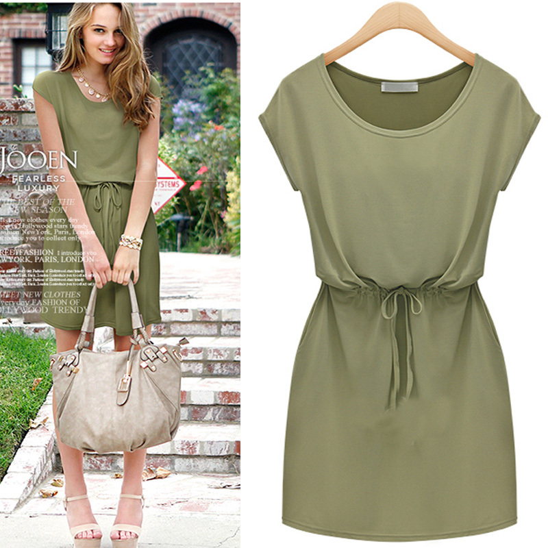 wholesale causal dress women short sleeve elegant summer dress ...