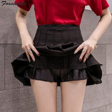 Women Fashion Summer high waist pleated skirt Wind Cosplay skirt kawaii Black White Sexy Mini Skirts Short Under Female 6 Colors(China)