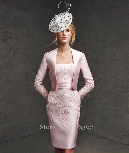 Elegante Rosa Mit Langarm jacke Knielangen Frauen Formales Kleid ...