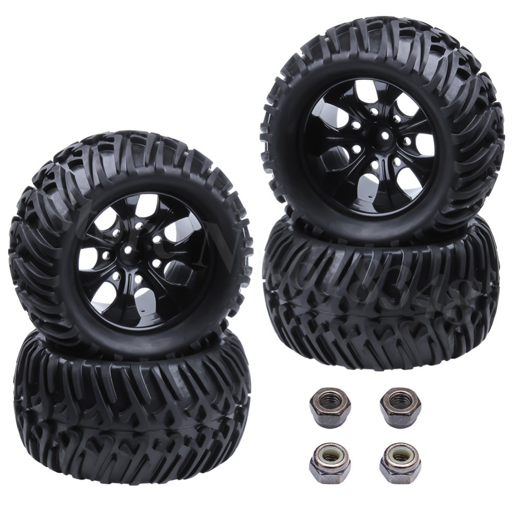 4Pcs RC Tires & Nylon Wheel Rims Foam Inserts 12mm Hex for 1/10 Scale RC Model Car HSP Off Road Monster Truck Redcat Exceed hsp 1 10 off road buggy body 2pcs 31 17 6cm 10706 10707 106ma2 rc car electric rc car bodyshell for 94107 94107pro