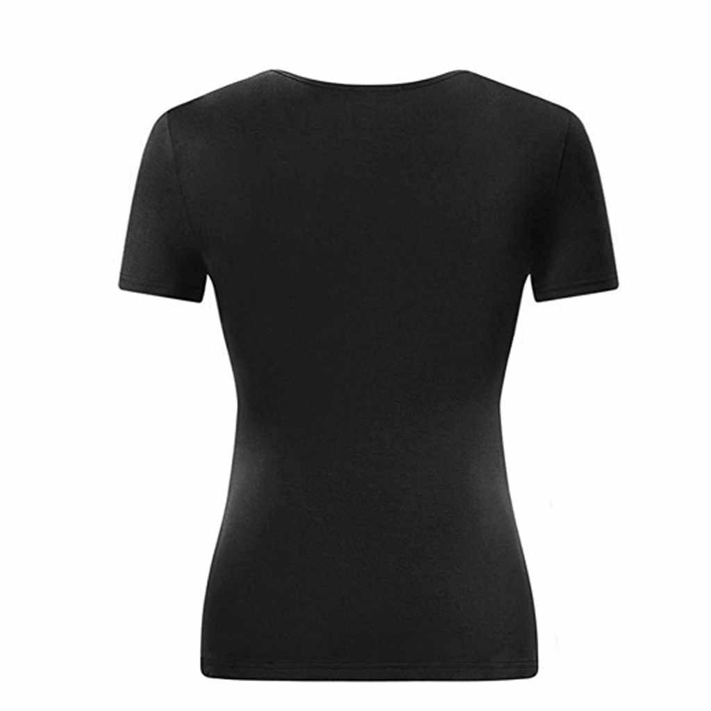 Top femmes 2019 feitong décontracté summr femmes chemise Col En V décontracté Manches Courtes Croix de pli Wrap Avant t-shirts roupas Femininas