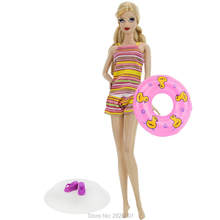 3 Items = 1x Rainbow Stripe Bikini One Piece Swimsuit + 1x Platform Slippers + 1x Pink Cute Swimming Laps For Barbie Doll Toys(China)