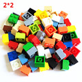 80 unids 2x2 básica alta ladrillos 2*2 4 agujeros compatibles con lepin diy bloques de construcción de juguetes