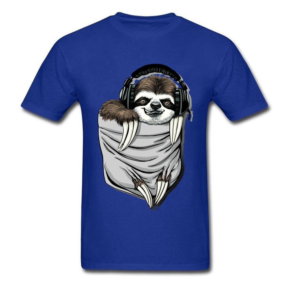 Прочный Шарм DJ Музыкальная гарнитура Ленивец Спортивная футболка мужская Спортивная Футболка серая футболка Kawaii дизайн карманный монстр одежда - Цвет: Blue