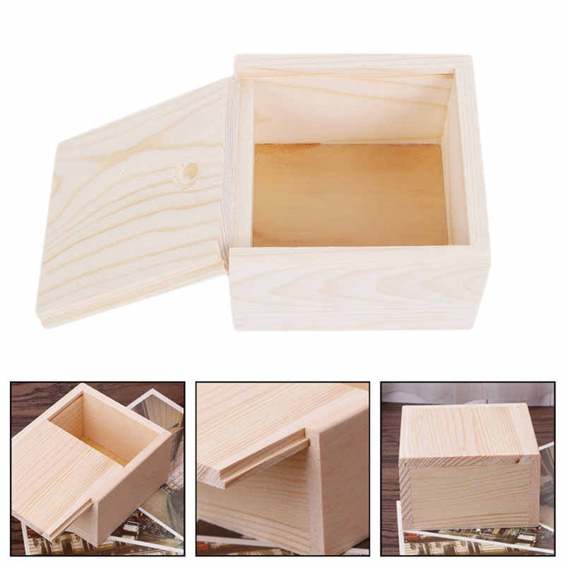 Handmade Jewelry Storage Box Natural Color Handmade Soap Packaging Wooden Box  Wood Plain Candy Case Ring Organizer Crafts Case