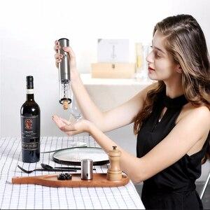 Image 2 - Youpin サークル喜び自動赤ワインボトルオープナーステンレス鋼電気コークスクリューフォイルカッターベースコークスクリューコルクアウトポンプ