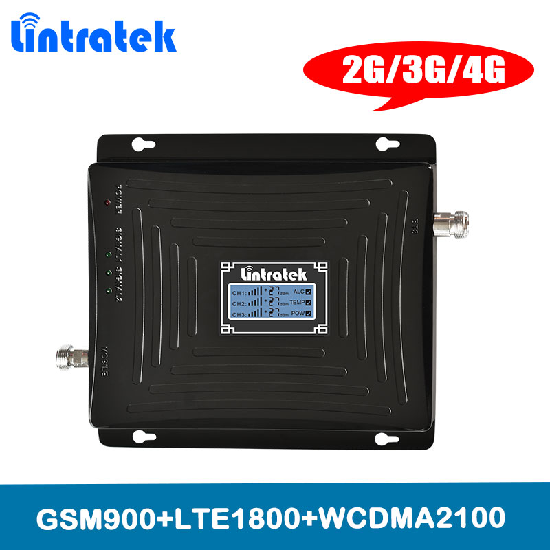 Lintratek 2G 3G 4G Triple band Cell Phone Signal Booster 65dB GSM 900 LTE 1800 WCDMA