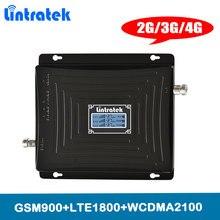 Lintratek 2 г 3g 4G тройной band сотовый телефон усилитель сигнала 65dB GSM 900 LTE 1800 WCDMA 2100 мГц мобильный повторитель сотового сигнала