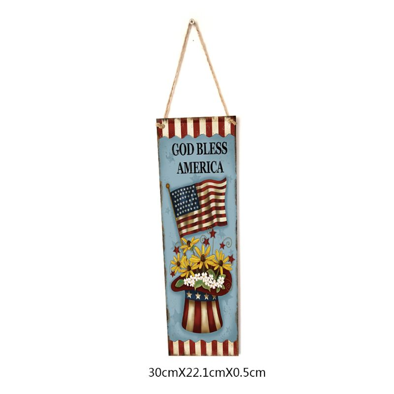 Image 3 - Rustic Wooden Happy God Bless America Flag Sign Plaque Independence Day Room Home Decoration Collection Gift-in Plaques & Signs from Home & Garden