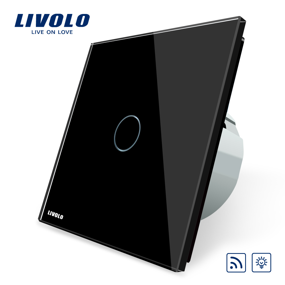 Livolo EU Standard Remote&Dimmer Switch VL-C701DR-12, Black Crystal Glass Panel, 220~250V Wall Light Remote Touch Dimmer Switch eu standard dimmer switch luxury crystal glass panel smart switch remote
