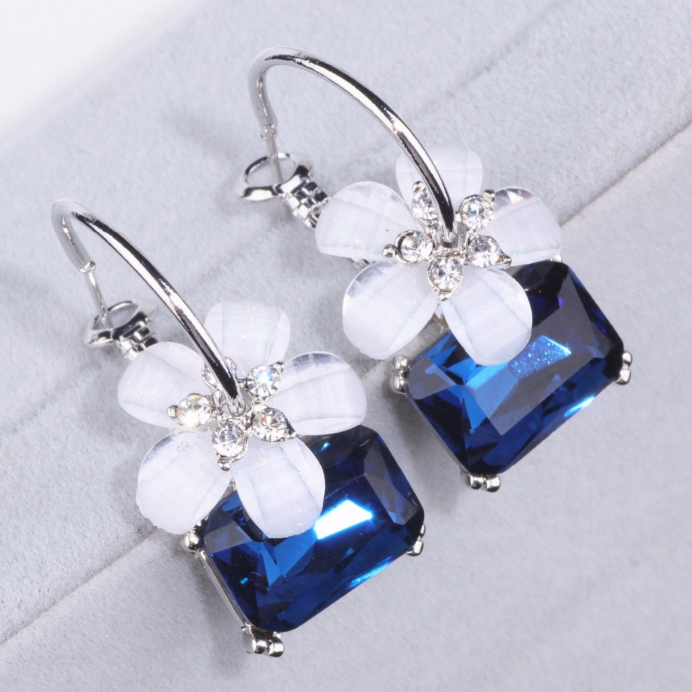 <font><b>2019</b></font> New Fashion Brincos Party Alloy Stud Crystal <font><b>Flower</b></font> Blue Stone Dangle <font><b>Earrings</b></font> <font><b>for</b></font> <font><b>Women</b></font> <font><b>Statement</b></font> Geometric Jewelry DZDZ1 image
